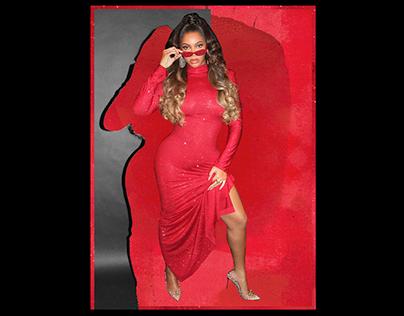 Beyoncé—Red Dress Layout