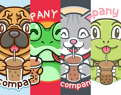 Cute Animal for Boba Logo