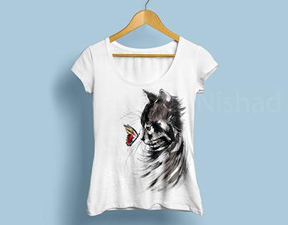 CAT   Fabric Painting on T-Shirt by KAMAL NISHAD