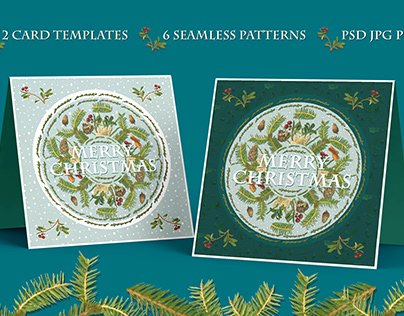 Christmas cards and patterns with nature plants