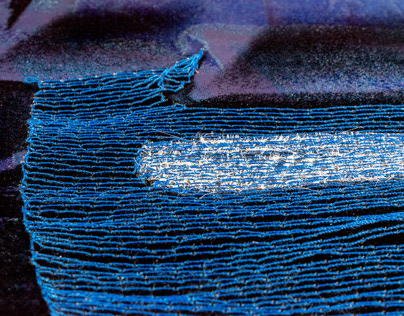 Stitched blue lines