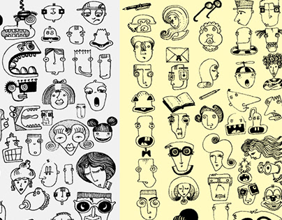 pattern of more than 140 faces and objects