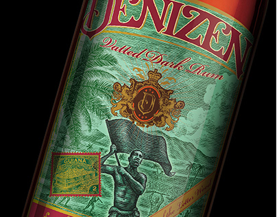 Denizen Rum Label Illustrated by Steven Noble