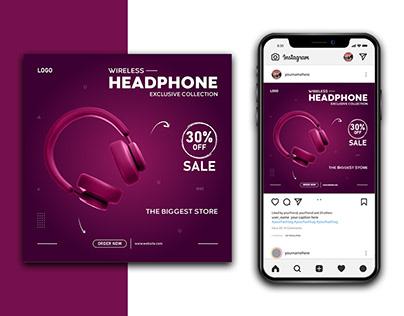 Wireless Headphone Social Media Instagram Banner
