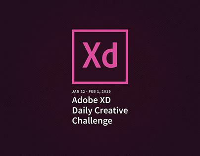 Adobe XD Daily Creative Challenge Jan/Feb 2019