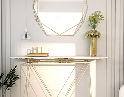 gold and marble console table