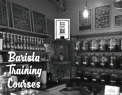 Poster design: Barista Training Courses QR board