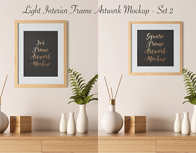 Light Interior Frame Artwork Mockup - Set 2