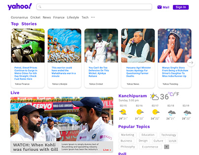 Redesigning Yahoo home page