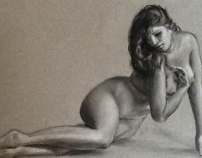 Sketch nude figure study