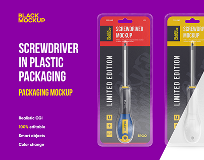 Screwdriver in plastic packaging mockup