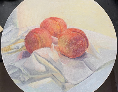 still life, peaches, pastel on board