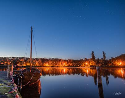 An evening at a lake after a sail race