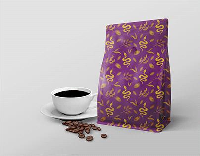 Classy botanical serpent coffee packaging design