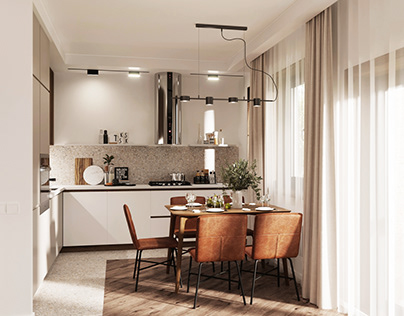 Kitchen and living room in a 1 family house