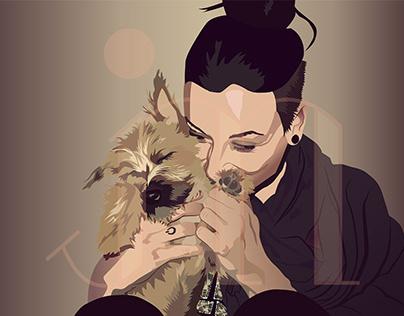 Illustration Girl with Dog