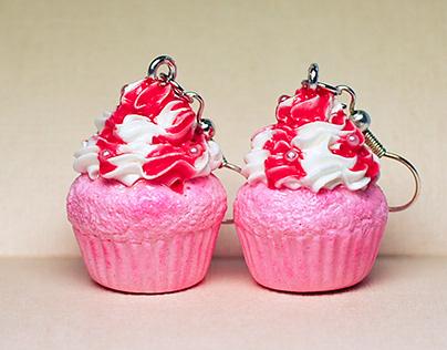Raspberry Cupcake Earrings