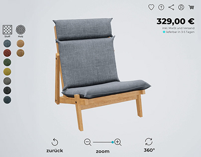 3D CGI furniture configurator in 360°