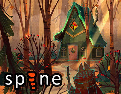 Spine 2D - House in the woods Animation