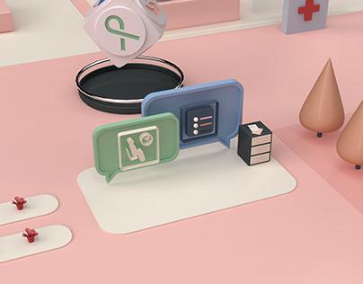 Hospital How-To | Web & 3D illustration