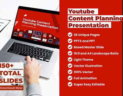 Youtube Content Plan Presentation PowerPoint Template