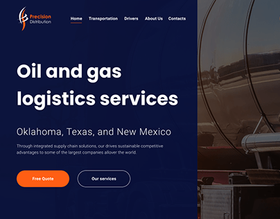 Landing page for logistics services distribution