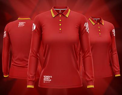 Women's Long Sleeve Polo Shirt PSD Mockup