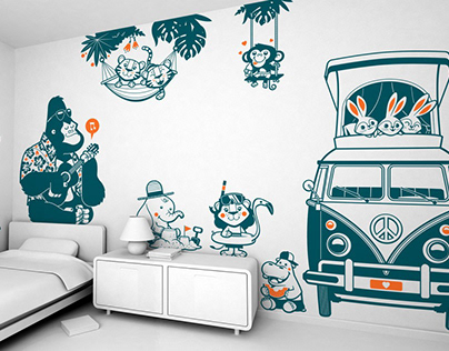 summer camp :: jungle animal nursery wall decals
