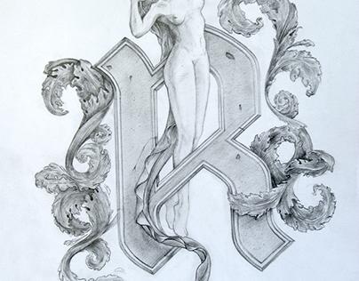 """Letter """"R"""" sketch"""