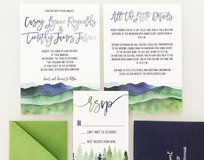 White Mountain Wedding Watercolor Invitation Suite