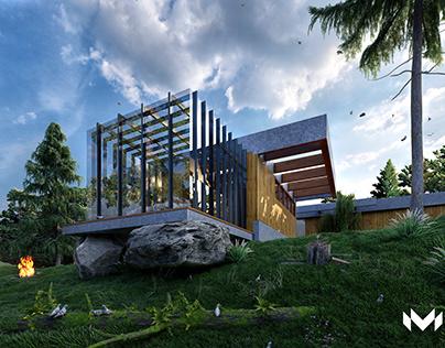 Forest House - 3D Render Glass Villa Design