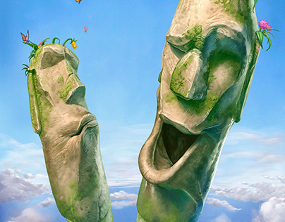 Easter Island poster and background / concept art.