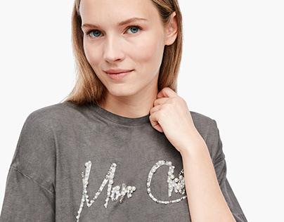 Slogan Glitter & Pearl T-shirt // s.Oliver