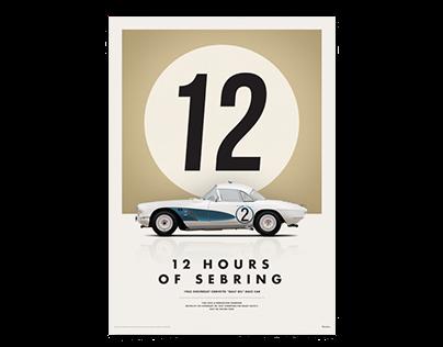 Chevrolet Corvette C1 Le Mans 1962 poster