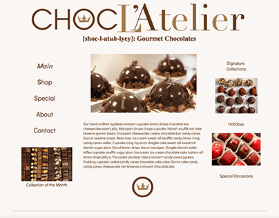 ChocoL'atelier Fictional Company and Website