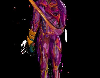 purple skin and orange bones