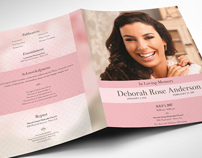 Glamour Funeral Program Word Publisher Tabloid Template