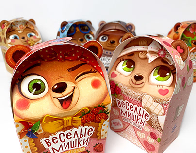 """Funny Bears"". Package design for collection of candies"