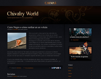 Chivalry World blog design