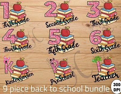 9 back to school bundle sublimation 300 dpi