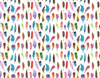 七彩羽毛 Colorful feathers - watercolor surface design