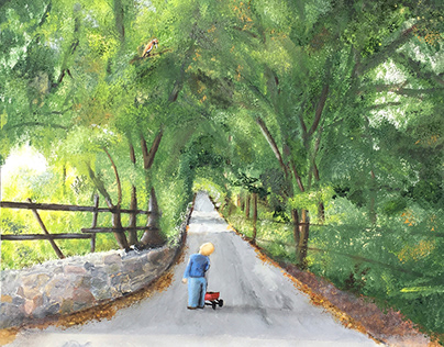 boy with red wagon