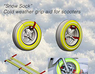 """Snow Sock""  Cold weather grip aid for scooters"