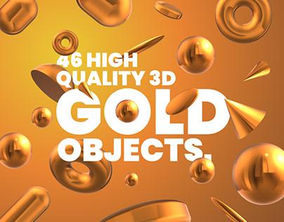 Get 3D Gold design elements.