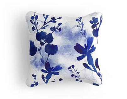 Watercolor Indigo floral pattern