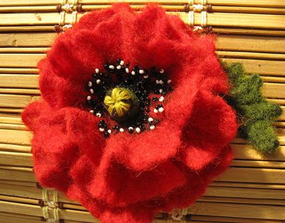 "Brooch ""Red poppy flower"", wool, beads."