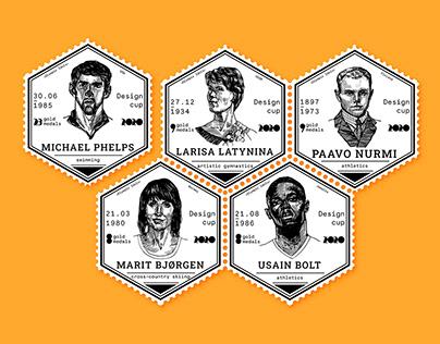 Golgen Olympic Idols. Post stamps design