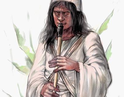 Kogi man playing a Gaita Flute