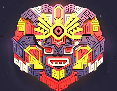 3D модель мозайки Ацтеков