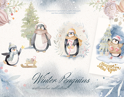 Winter Penguins - Watercolor Clipart